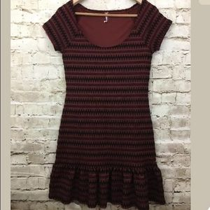 Free People Black Rust Brown Striped Ruffle Hem